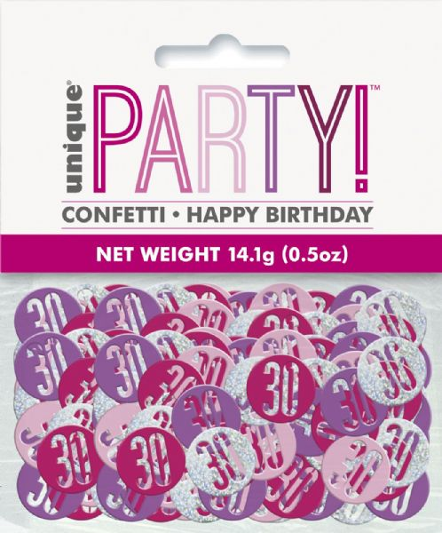 Glitz Pink Age 30 Table Confetti